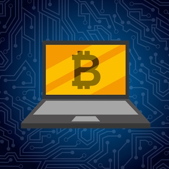 Laptop and golden bitcoin technology exchange
