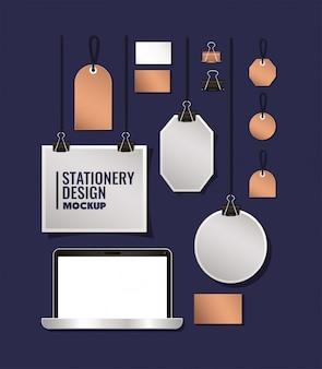 Наклейки для ноутбуков и макетов на синем фоне