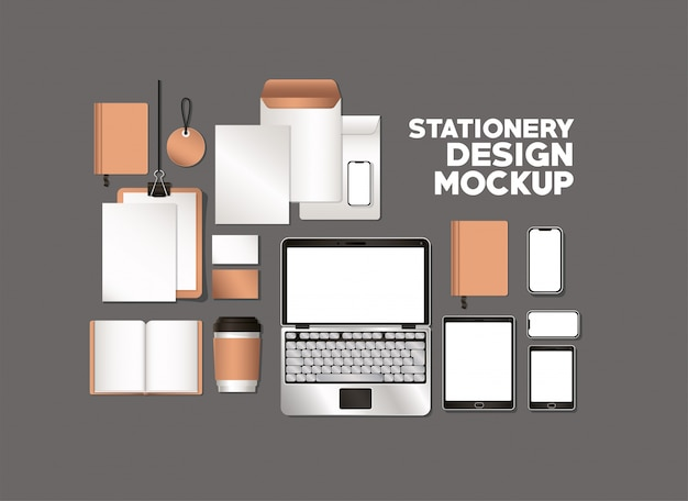 Ноутбук и макет на сером фоне