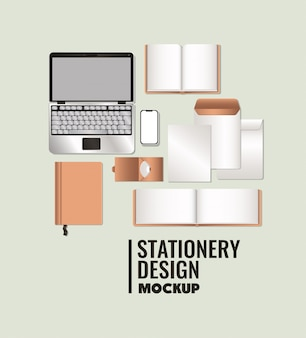 Ноутбук и макет на белом фоне