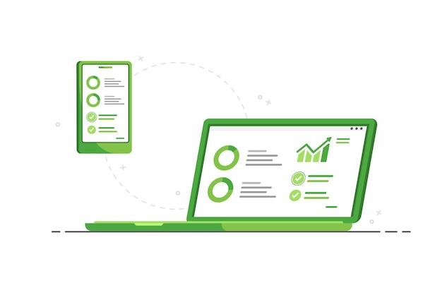 マーケティングのためのデータ分析を備えたラップトップと電話