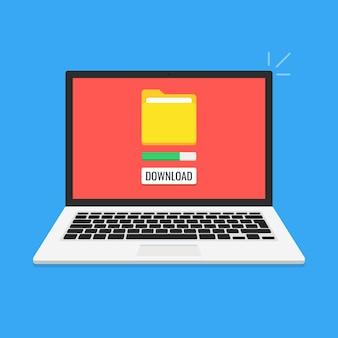 Ноутбук и индикатор выполнения на экране. скачивание файла, концепция информации.
