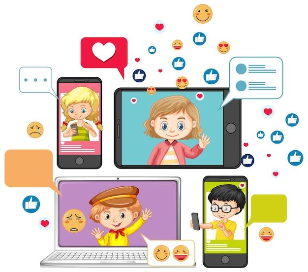 노트북 및 스마트 폰 또는 흰색 배경에 고립 된 소셜 미디어 이모티콘 아이콘 만화 스타일 학습 도구