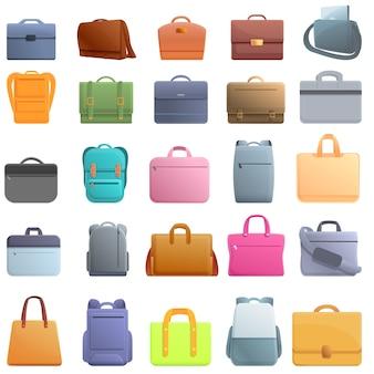 Набор иконок сумка для ноутбука. мультфильм набор векторных иконок сумка для ноутбука