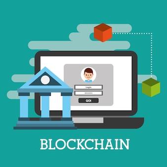 Ноутбук ноутбук веб-сайт кошелек blockchain векторные иллюстрации