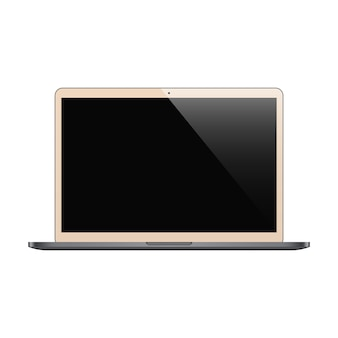 Laptop biege color with black screen isolated
