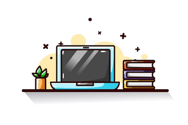 Laptop and books illustration hand drawing