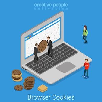 Ноутбук браузер cookie технологии плоский изометрические интернет концепция мужчины настраивают cookie в окне интерфейса браузера экрана.