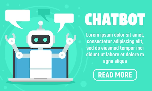 Laptop chatbot banner, flat style