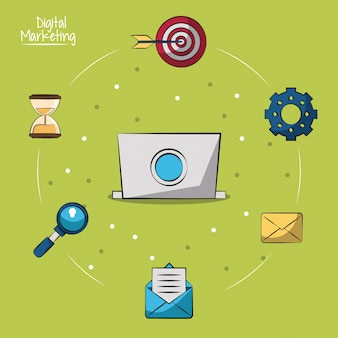 Laptop in closeup and marketing icons around