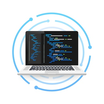 Концепция кодирования ноутбука. веб-разработчик`` программирование. код экрана ноутбука. иллюстрация.