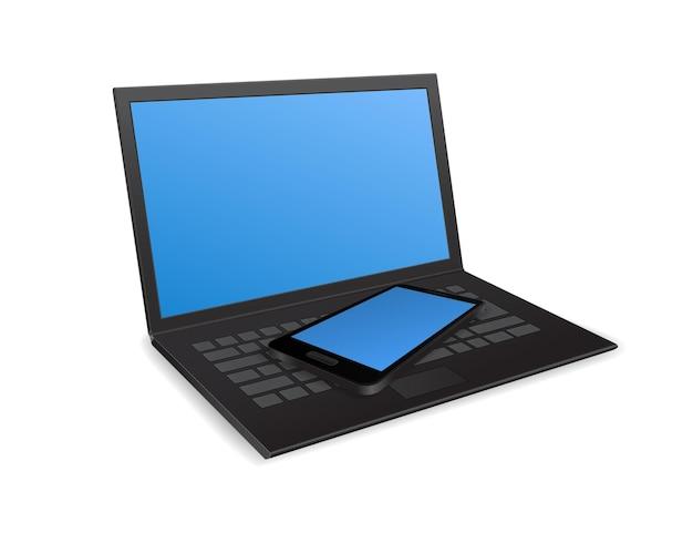 노트북 컴퓨터와 스마트 폰 3d 아이콘 절연