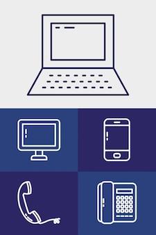 Портативный компьютер и технологии Premium векторы