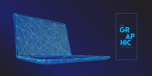 Laptop computer composed of polygons.