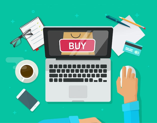 Laptop computer and customer person buying from ecommerce internet store or online shopping