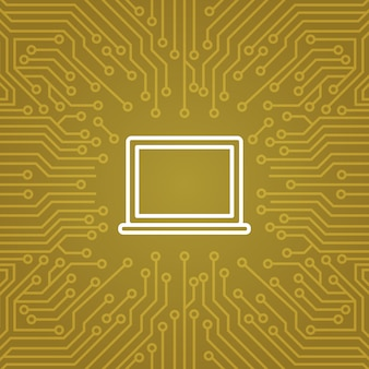 Laptop computer icon over computer chip moterboard background banner