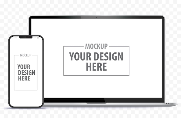 Laptop computer and mobile phone. digital devices screen template