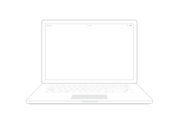 Laptop computer notebook outline on white background.