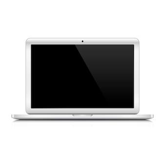 白い背景の上のラップトップコンピューター。図。空白の黒い画面を持つノートパソコン。