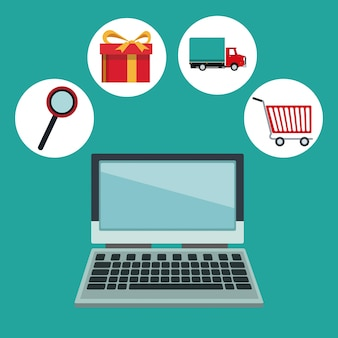 Laptop computer and online shopping elements