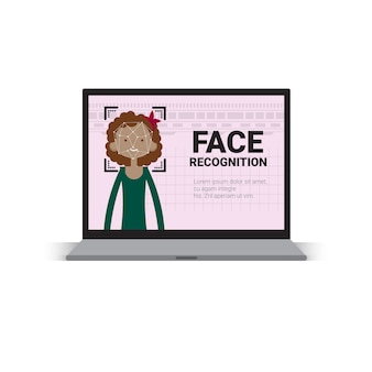 Laptop computer scanning user female face identification technology access control system biometrical recognition concept