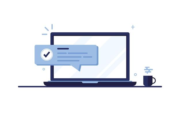 체크 표시 또는 눈금 알림, 임무 완료, 우편으로 수신 된 메시지가있는 노트북 컴퓨터 화면. 푸른