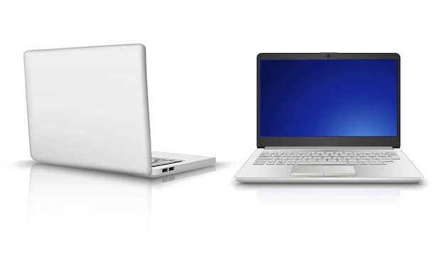 Laptop computer in side and front view. isolated on white background.