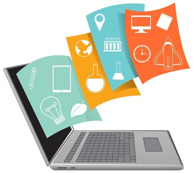 Computer portatile con icona accademica su sfondo bianco