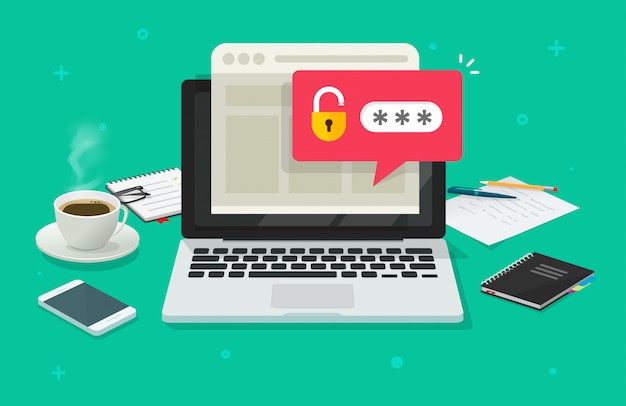 Laptop computer with password notification and lock icon  flat cartoon