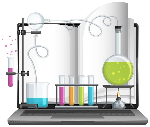 과학 실험실 장비가 있는 노트북 컴퓨터