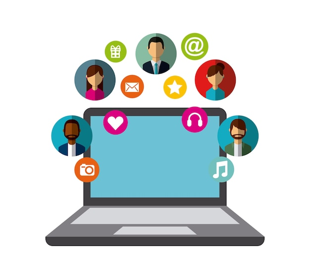 Laptop computer with social media icons around