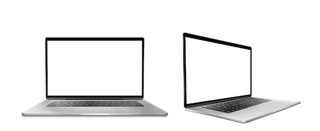 흰색 화면 및 키보드와 노트북 컴퓨터