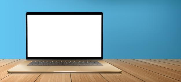 나무 테이블에 흰색 스크린 노트북 컴퓨터