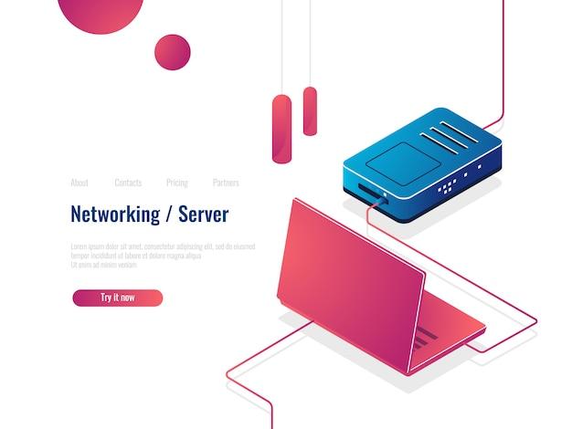 Портативный компьютер подключен к интернету через изометрический значок маршрутизатора, концепцию сети, данные серверной комнаты