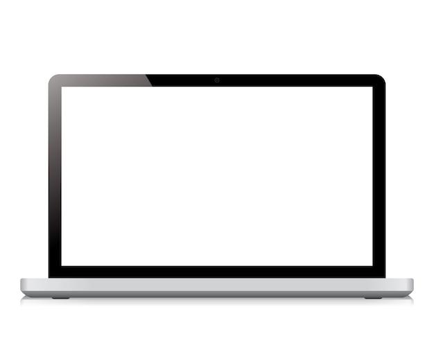 흰색 배경에 고립 된 노트북 디스플레이 화면