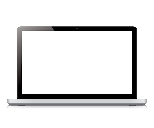 Laptop display screen isolated on white background
