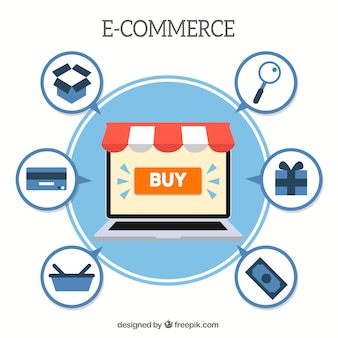 Laptop, e-commerce and shopping icons