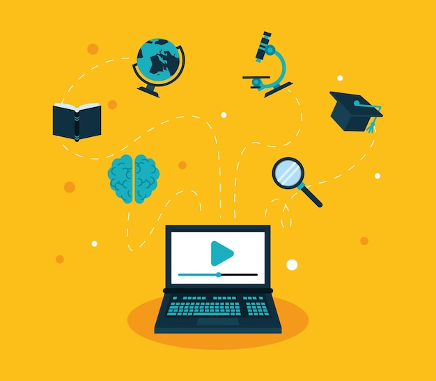 Laptop and education online set icons