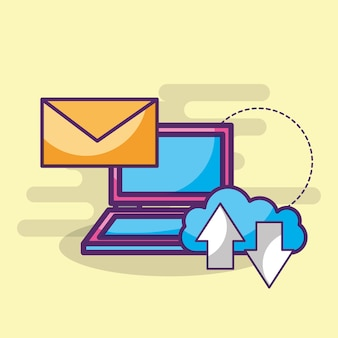 Laptop email message cloud storage upload and download