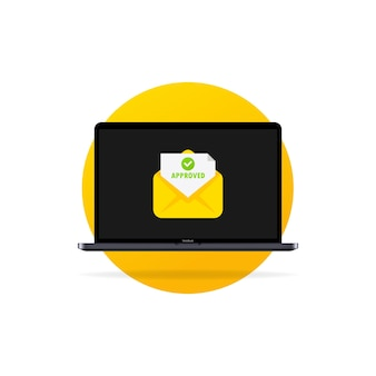 Laptop and envelope with approved letters. opened envelope and document with green tick. accepted email in envelope. vector flat cartoon illustration for web sites and banners design.