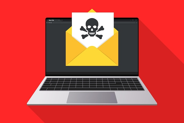 Laptop and envelope with document and skull icon