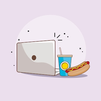 Laptop fast food flat design