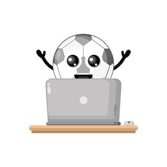 ラップトップサッカーかわいいキャラクターマスコット