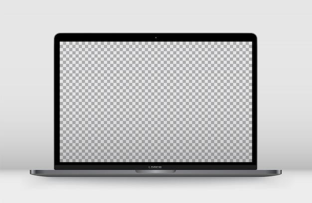 Laptop front transparent screen.