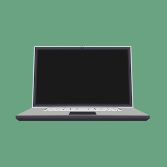 Laptop front view vector icon business screen blank
