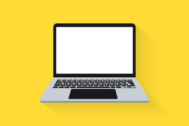 ラップトップの正面図。ベクトルラップトップフラットイラスト。コンピューター。空の画面、コンピューター上の空白のコピースペースを持つラップトップコンピューター。