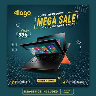 Laptop or gadget for sale social media instagram post banner template