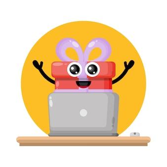 Laptop gift cute character logo
