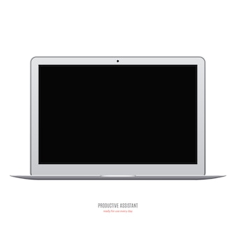 Laptop grey color with blank black screen isolated on white background. stock illustration