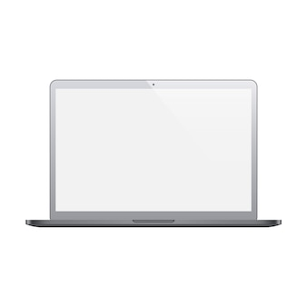 Laptop grey color with blank screen isolated on white background